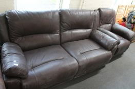 A brown leather two seater settee and armchair