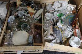 A large quantity of bric-a-brac : china, glass, cookie jar, ceramics, mantel clocks, puzzle,