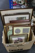 A box of pictures and prints,