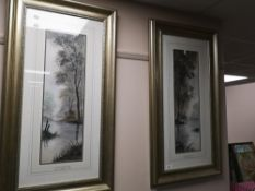 A pair of watercolours by Digby Paige - Peaceful glade and Riverside reflections