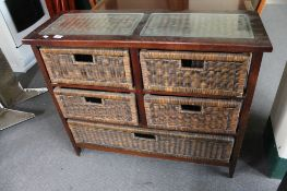 A glass topped wicker five drawer chest CONDITION REPORT: 95cm wide by 33cm deep by