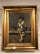 Continental school : oil on canvas depicting study of a child smoking CONDITION REPORT: