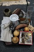 A tray of cutlery, wooden fruit, costume jewellery,