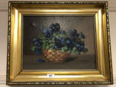 Continental school : oil on canvas depicting flowers in a vase