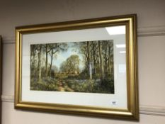 A gilt framed highlighted print - English country landscape