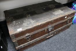 An antique cane bound trunk