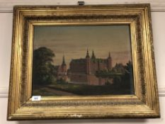 Continental school : oil on canvas depicting a palace by a river