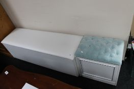 A storage dressing table stool together with a further long blanket box