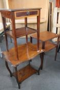 An Edwardian occasional table and two further tables