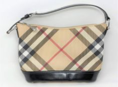 A Burberry Check Leather handbag, with black shoulder strap and zip opening,
