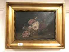 Continental school : oil on canvas depicting still life with flowers