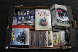 A crate of British steam dvds,