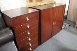 A contemporary mahogany double door cupboard and matching six drawer chest