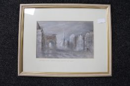 Keith Proctor : Central Station, Neville Street, Newcastle upon Tyne, pastel drawing,