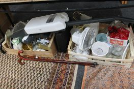 Two boxes of china, ornaments, multi system cleaner, fan, carriage clock,