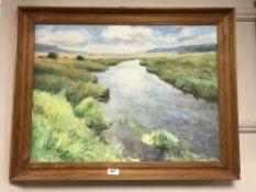 Continental school : oil on canvas depicting marshland