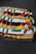 A box of woolen blankets