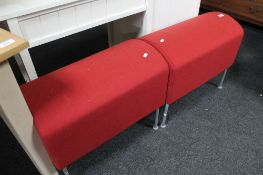 Two contemporary red upholstered stools