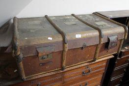 A cane bound vintage trunk