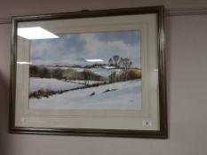 A contemporary colour print of a snow covered landscape