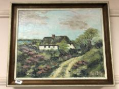 Continental school : oil on canvas depicting thatched cottage