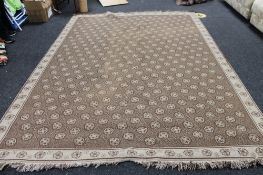 A fringed contemporary carpet