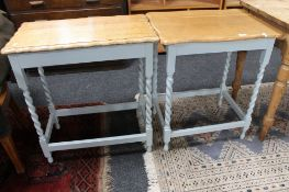 A pair of Edwardian oak painted occasional tables
