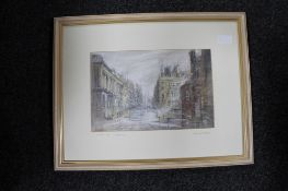 Keith Proctor : Grainger Street, Newcastle upon Tyne, pastel drawing, signed in pencil, dated 1990,