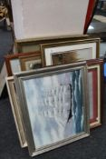 A quantity of pictures and prints, oil painting depicting boats,