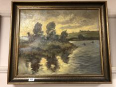 Continental school : oil on canvas depicting ducks in flight