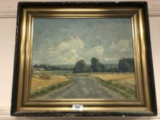 Continental school : oil on canvas depicting a country track
