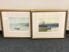 Henry Mayer; Coastal landscape and a marshland scene, two watercolours, signed,