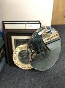 A circular chalk framed porthole mirror, a 1950's circular mirror, two framed prints,
