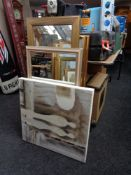 Two decorative mirrors together with two colour prints and a canvas picture