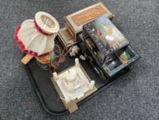 A tray of lacquered jewellery boxes, carved Indian table boxes, Japanese figural lamp, hand fans,