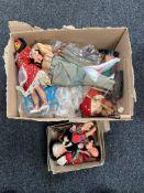 A box of vintage dolls,