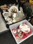 Two boxes of miscellaneous china and glass ware,