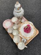 A tray of Royal Worcester figure - Grand mother's dress, tea china,