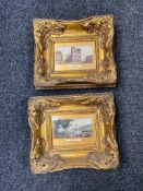 Two French prints in ornate gilt frames