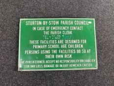 A tin Sturton by Stow Parish Council safety sign