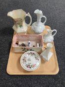 A tray containing Aynsley vase, Wedgwood lidded dish,