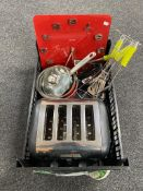 A tray of Brevel toaster, pans, kitchen utencils,