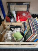 Two crates of assorted electricals, china,