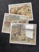 A set of three framed Hugh Thompson hunting prints