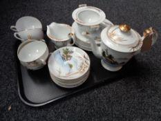 A tray containing Japanese eggshell tea service
