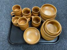 A tray of mid twentieth century earthernware Langley coffee china