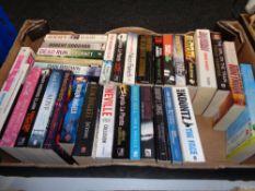 A box of paperback books; novels, Ken Follett,