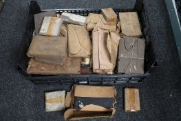 A crate of antique printing blocks relating to Newcastle upon Tyne