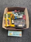 A box of mid 20th century and later die cast vehicles to include Corgi steam shovel and transporter
