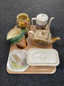 A tray of assorted china to include Royal Doulton character jug 'Arriet', Indian Tree vase,